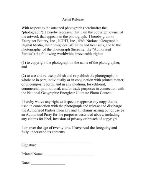 Energizer Artist Release Form - National Geographic Magazine
