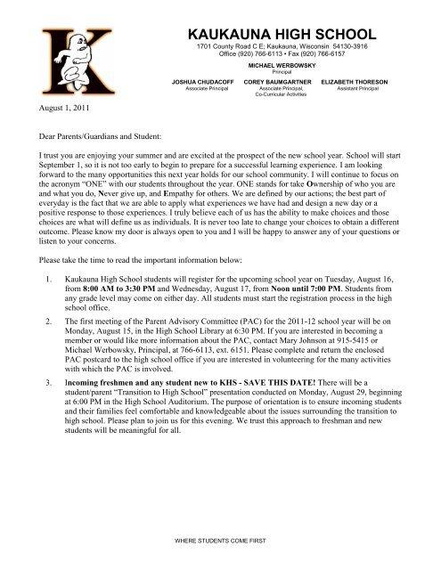 Parent Welcome Back Letter 8-1-11 - Kaukauna Area School District