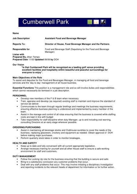 Name Job Description Assistant Food and Beverage Manager