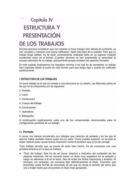 I ESTRUCTURA DE LOS TRABAJOS Ii Portada - Materiasunqeduar