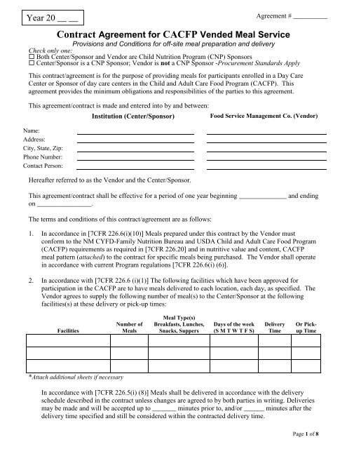 Food Service Vending Contract Agreement (PDF) - New Mexico Kids