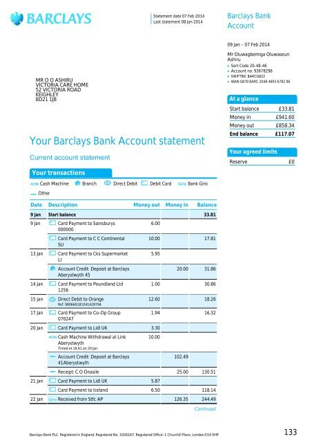 Your Barclays Bank Account statement