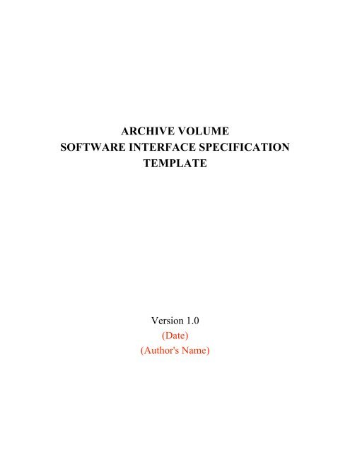 archive volume software interface specification template