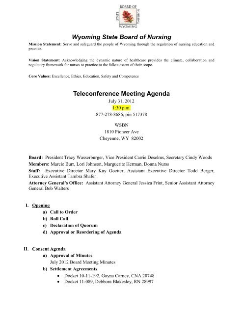 Wyoming State Board of Nursing Teleconference Meeting Agenda