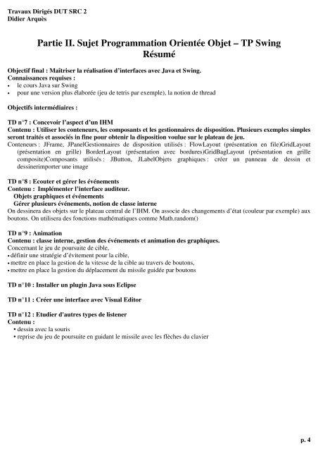 Partie II Sujet Programmation Orientée Objet \u2013 TP Swing Résumé