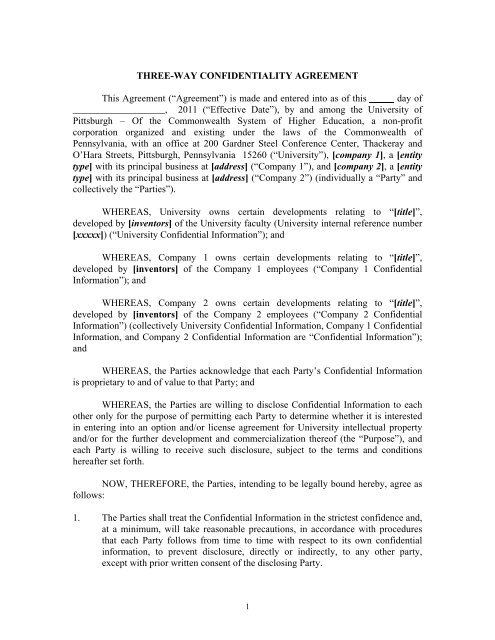 Three-way Mutual Confidentiality Agreement - Innovation