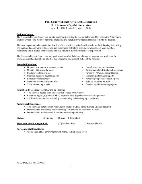 1 Polk County Sheriff\u0027 Office Job Description 1716 Accounts Payable