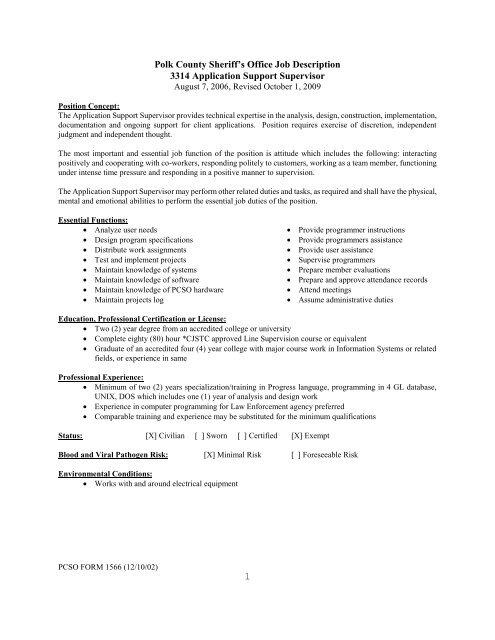 1 Polk County Sheriff\u0027s Office Job Description 3314 Application