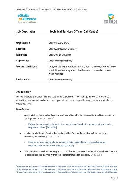 Job Description Technical Services Officer (Call Centre) - Malta