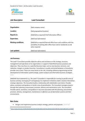 Management Consultant Job Description. Duties And Responsibilities ...