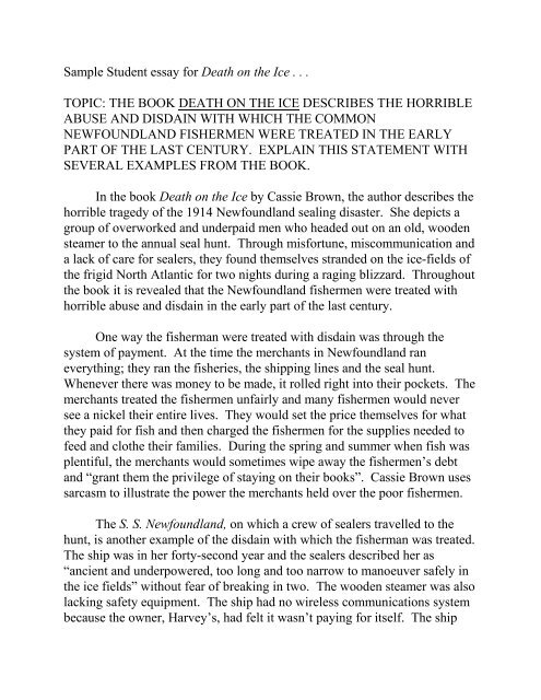 Sample Student essay for Death on the Ice    TOPIC - Teacher Web