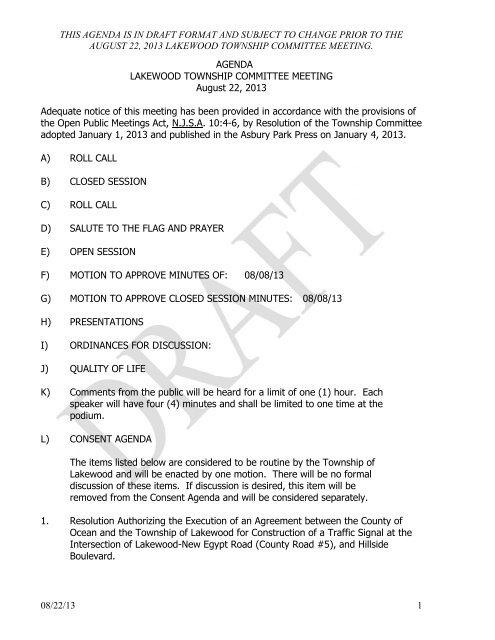 this agenda is in draft format and subject to change prior to the