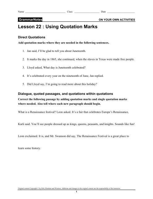 Grammar Punctuating Quotations - CIBACS