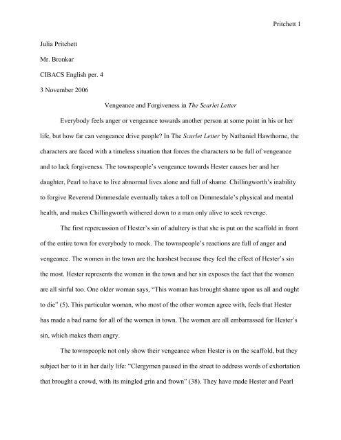 Sample Scarlet Letter Essay - CIBACS