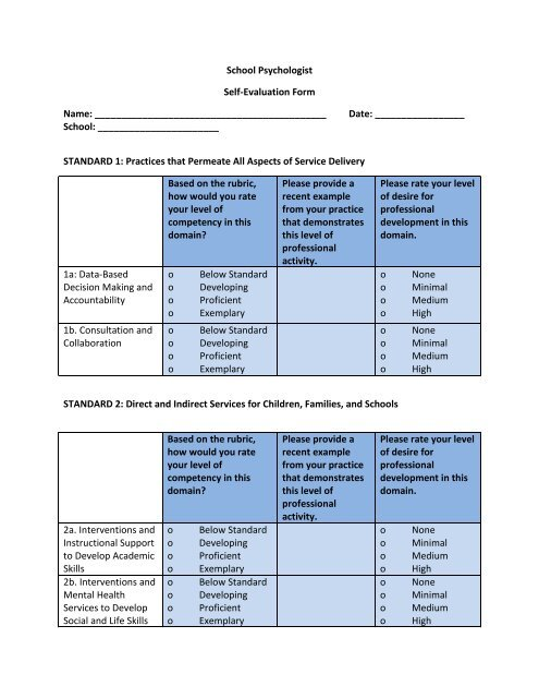 School Psychologist Self-Evaluation Form - SEED \u2013 System for
