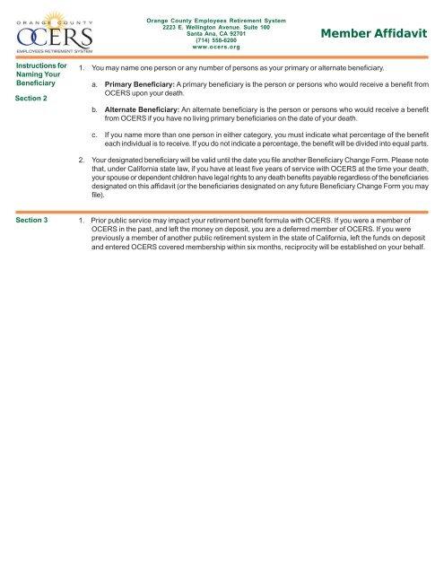 Member Affidavit Form (Don\u0027t use)pmd - OCERS