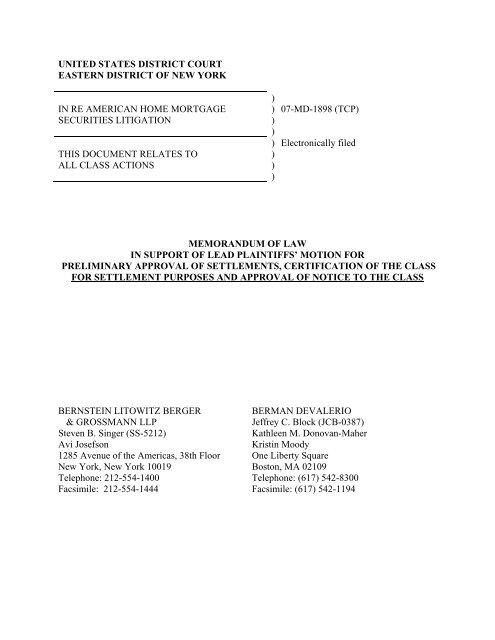 Plaintiffs\u0027 Memo in Support of Notice of Settlement - Bernstein