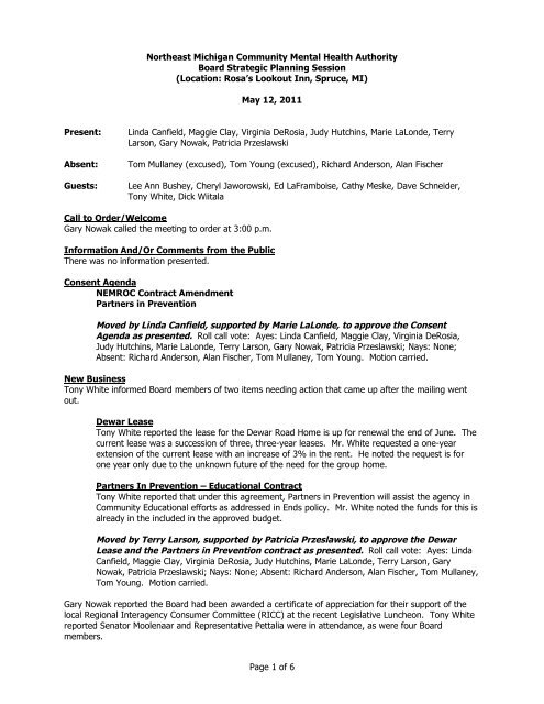 Board Meeting Minutes 05-12-11(pdf) - NEMCMHorg