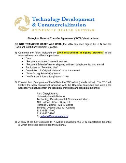 Biological Material Transfer Agreement (â\u20acœMTA - UHN Research