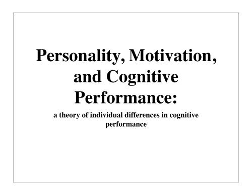 a theoretical proposal (pdf) - The Personality Project