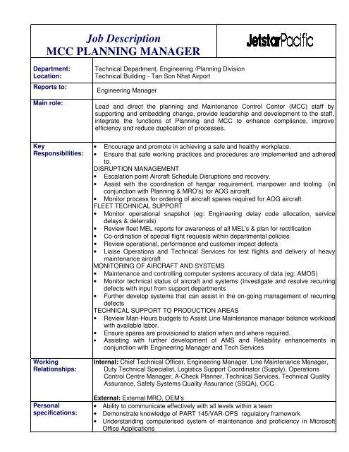 Job Description MCC PLANNING MANAGER