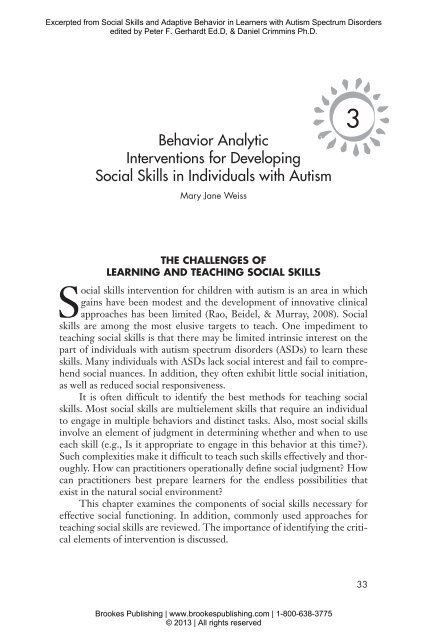 Behavior Analytic Interventions for Developing Social Skills in