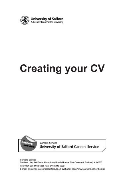Creating your CV - Careers  Employability - University of Salford