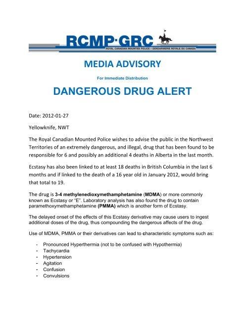 MEDIA ADVISORY DANGEROUS DRUG ALERT