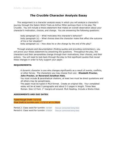 The Crucible Character Analysis Essay - Jones College Prep