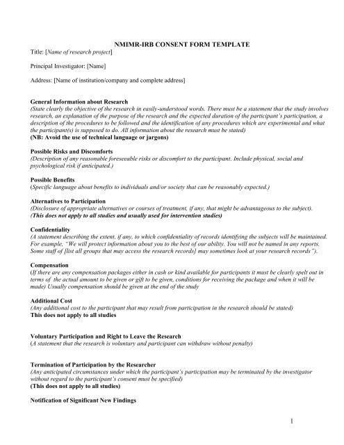 consent form template - Noguchi Memorial Institute for Medical