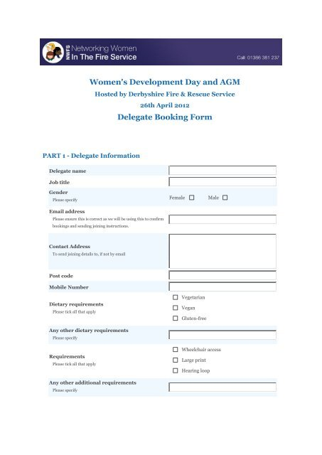 Printable booking form (pdf) - Networking Women in the Fire Service