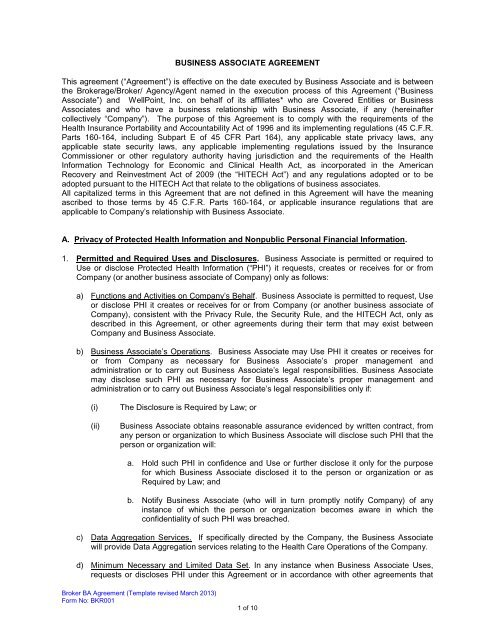 BUSINESS ASSOCIATE AGREEMENT This agreement - Anthem
