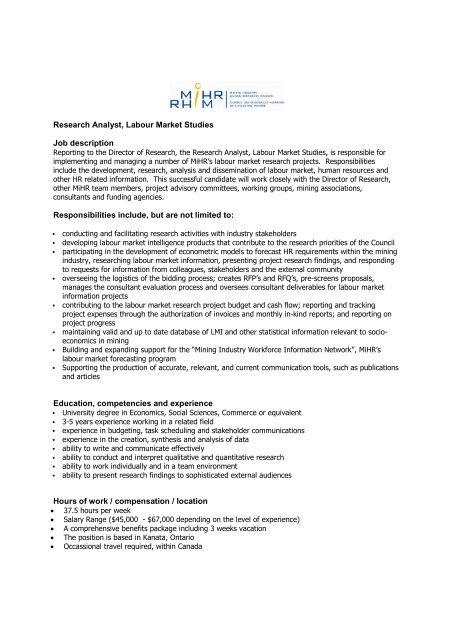 Research Analyst, Labour Market Studies Job description - MiHR