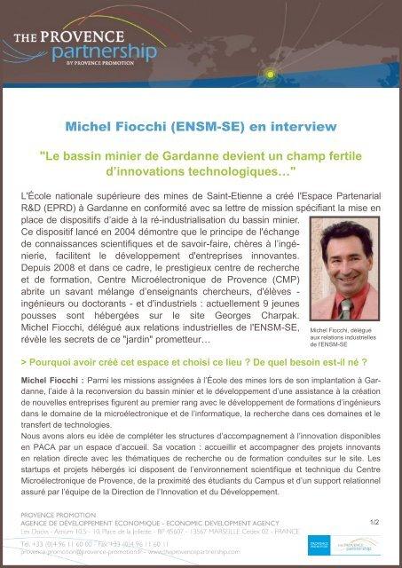 Michel Fiocchi (ENSM-SE) en interview - Provence Promotion
