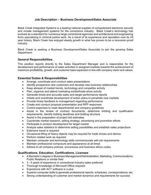 Job Description - Sales Representative General - Black Creek