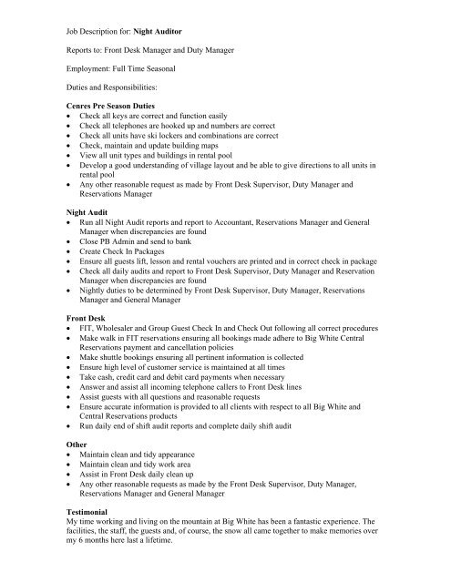 Job Description for Night Auditor - OWH