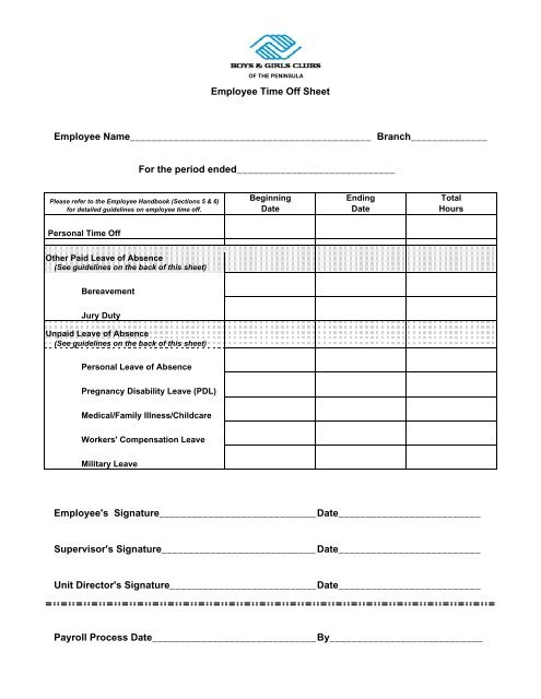 Time Off Request Form - Boys  Girls Clubs of the Peninsula