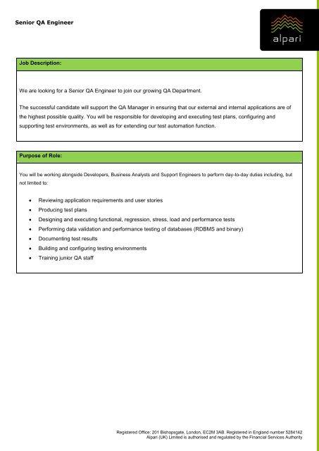Senior QA Engineer Job Description We are looking for - Alpari UK