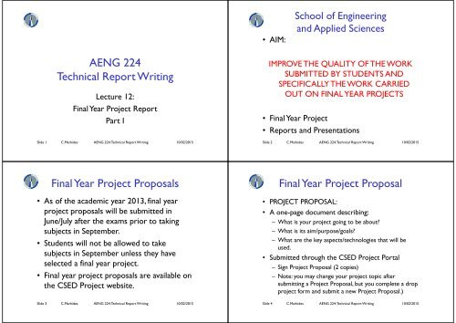 AENG 224 Technical Report Writing Final Year Project Proposals