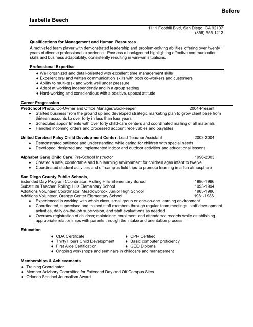 Career Change Sample Resume - Panoramic Resumes, LLC