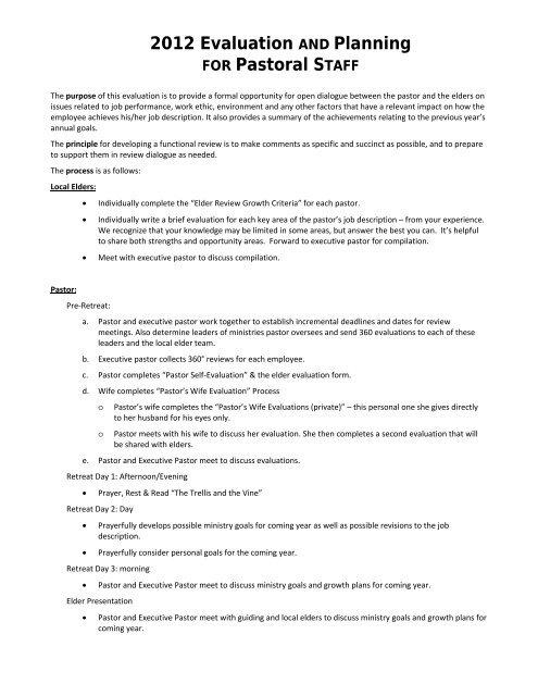 Village Bible Church Pastoral Review Form - XPastor