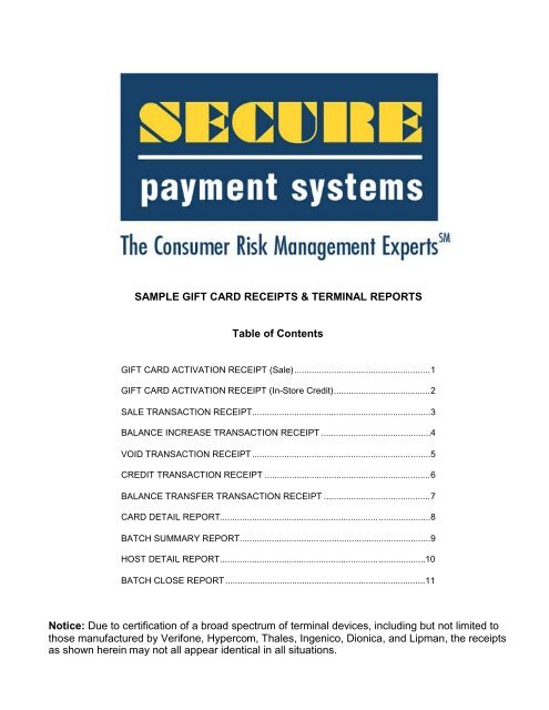 Sample Gift Card Receipts - Secure Payment Systems
