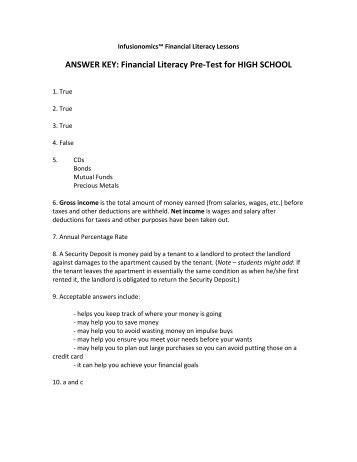 Financial Literacy Pre-Test: MIDDLE SCHOOL - Infusionomics