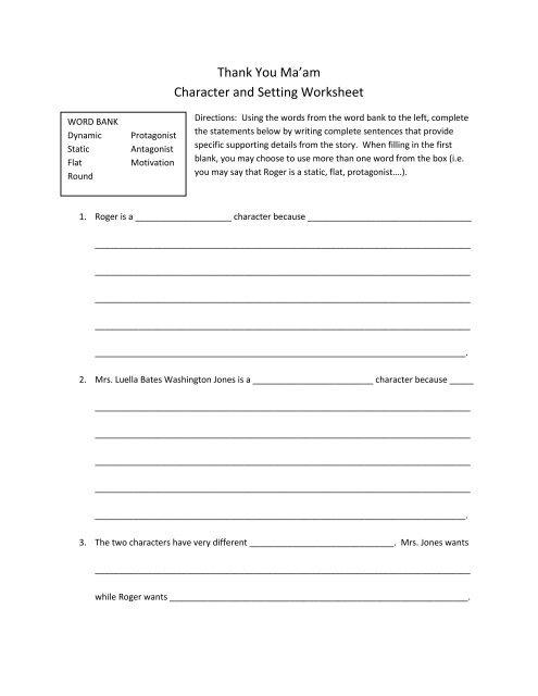Thank You Ma\u0027am Character and Setting Worksheet