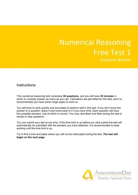 Numerical Reasoning Free Test 1 - AssessmentDay - Aptitude Test