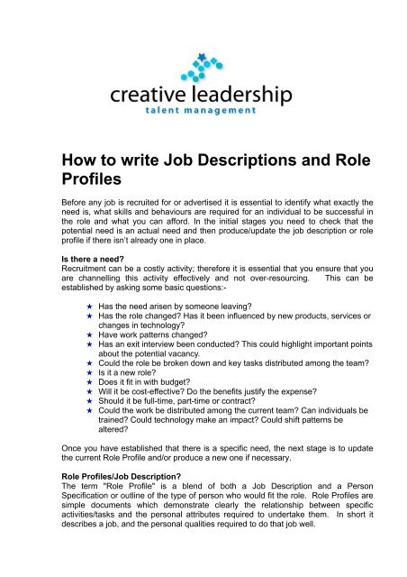 How to write Job Descriptions and Role Profiles - Creative Leadership