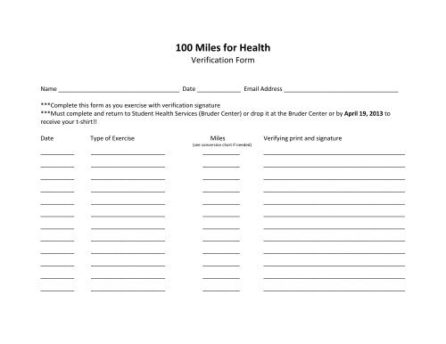 100 Miles for Health verification form