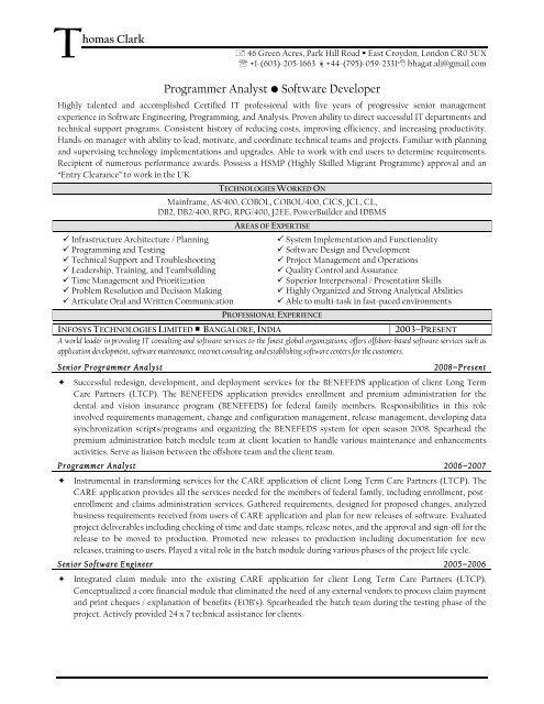 Programmer Analyst â\u20ac¢ Software Developer - Resume Prime