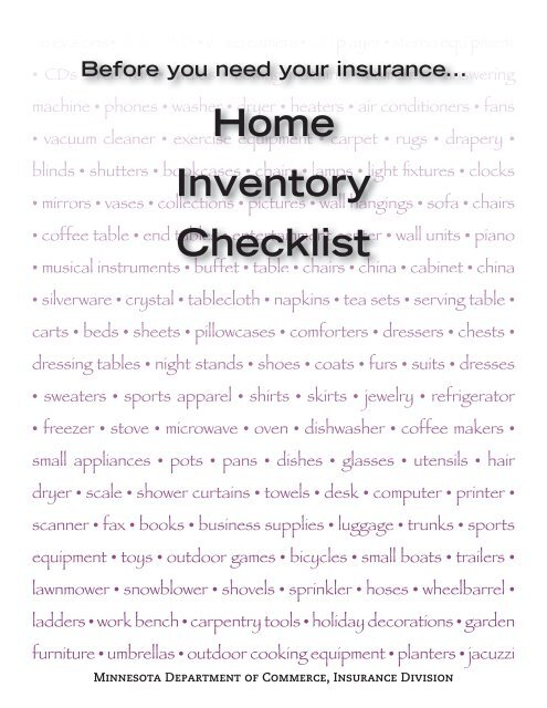 Home Inventory Checklist - Minnesotagov