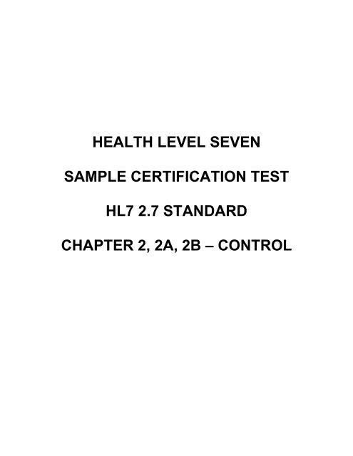 HEALTH LEVEL SEVEN SAMPLE CERTIFICATION TEST HL7 27